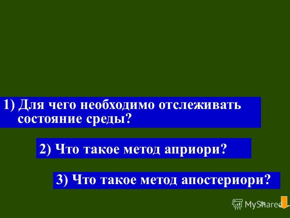 29 1) Для чего необходимо отслеживать состояние среды? 2) Что такое метод априори? 3) Что такое метод апостериори?