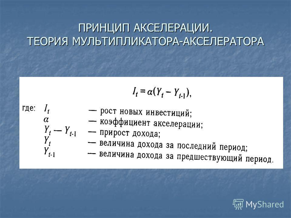 ПРИНЦИП АКСЕЛЕРАЦИИ. ТЕОРИЯ МУЛЬТИПЛИКАТОРА-АКСЕЛЕРАТОРА