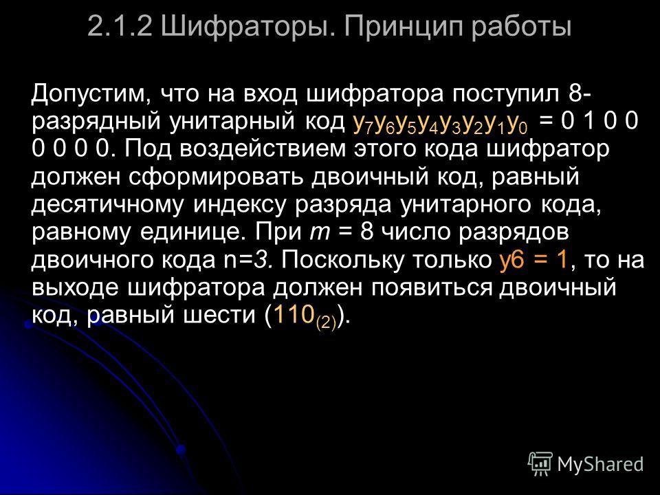 2.1.2 Шифраторы. Принцип работы Допустим, что на вход шифратора поступил 8- разрядный унитарный код y 7 y 6 y 5 y 4 y 3 y 2 y 1 y 0 = 0 1 0 0 0 0 0 0. Под воздействием этого кода шифратор должен сформировать двоичный код, равный десятичному индексу р