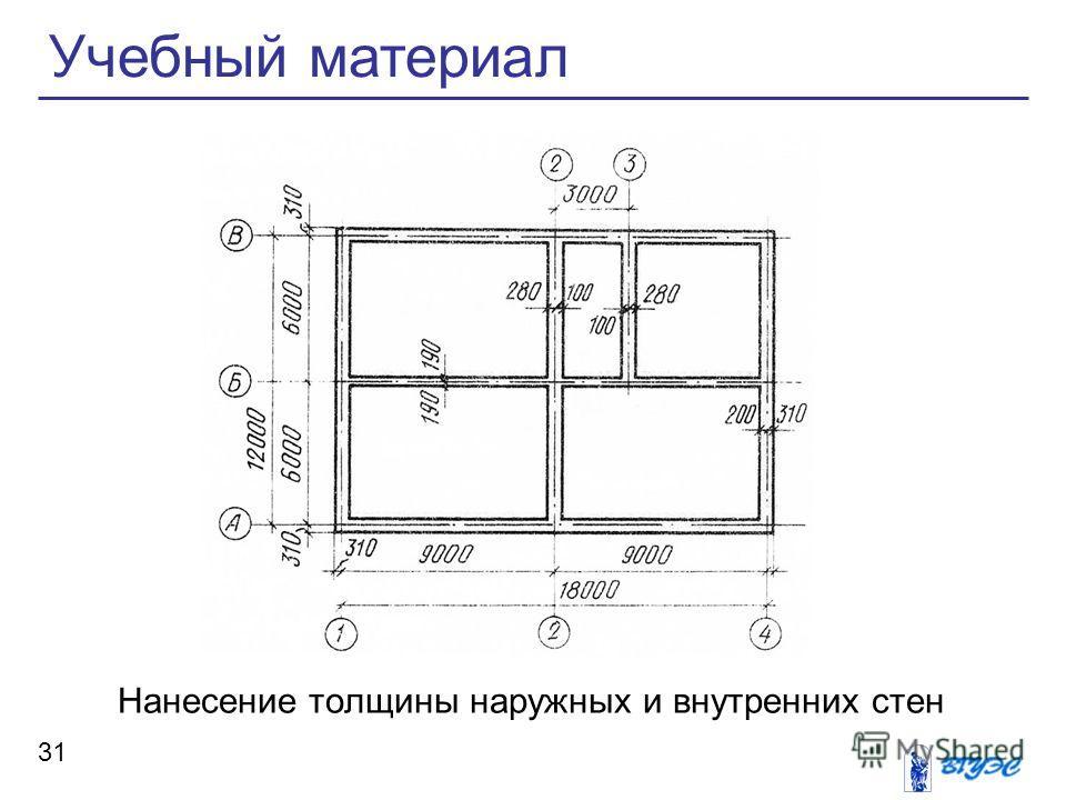 Нанесение толщины наружных и внутренних стен Учебный материал 31