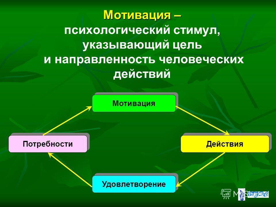 Мотивация – Мотивация – психологический стимул, указывающий цель и направленность человеческих действий Мотивация Потребности Действия Удовлетворение