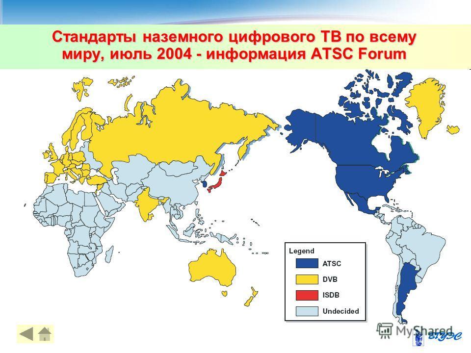 Стандарты наземного цифрового ТВ по всему миру, июль 2004 - информация ATSC Forum 38
