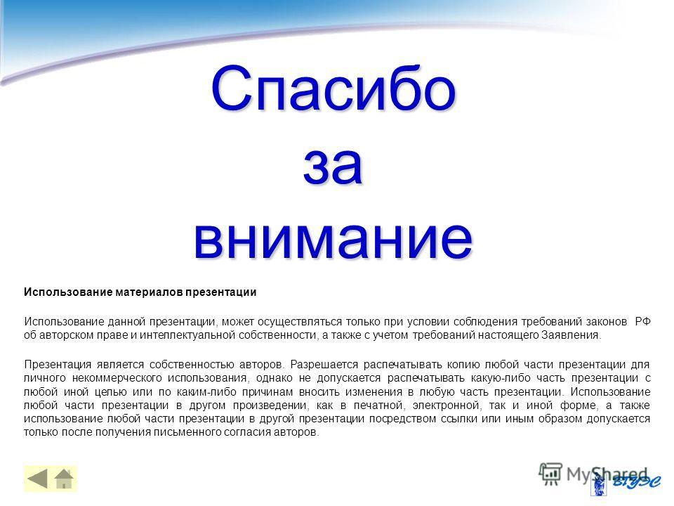 49 Использование материалов презентации Использование данной презентации, может осуществляться только при условии соблюдения требований законов РФ об авторском праве и интеллектуальной собственности, а также с учетом требований настоящего Заявления.