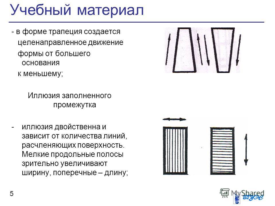 Учебный материал 5 - в форме трапеция создается целенаправленное движение формы от большего основания к меньшему; Иллюзия заполненного промежутка -иллюзия двойственна и зависит от количества линий, расчленяющих поверхность. Мелкие продольные полосы з