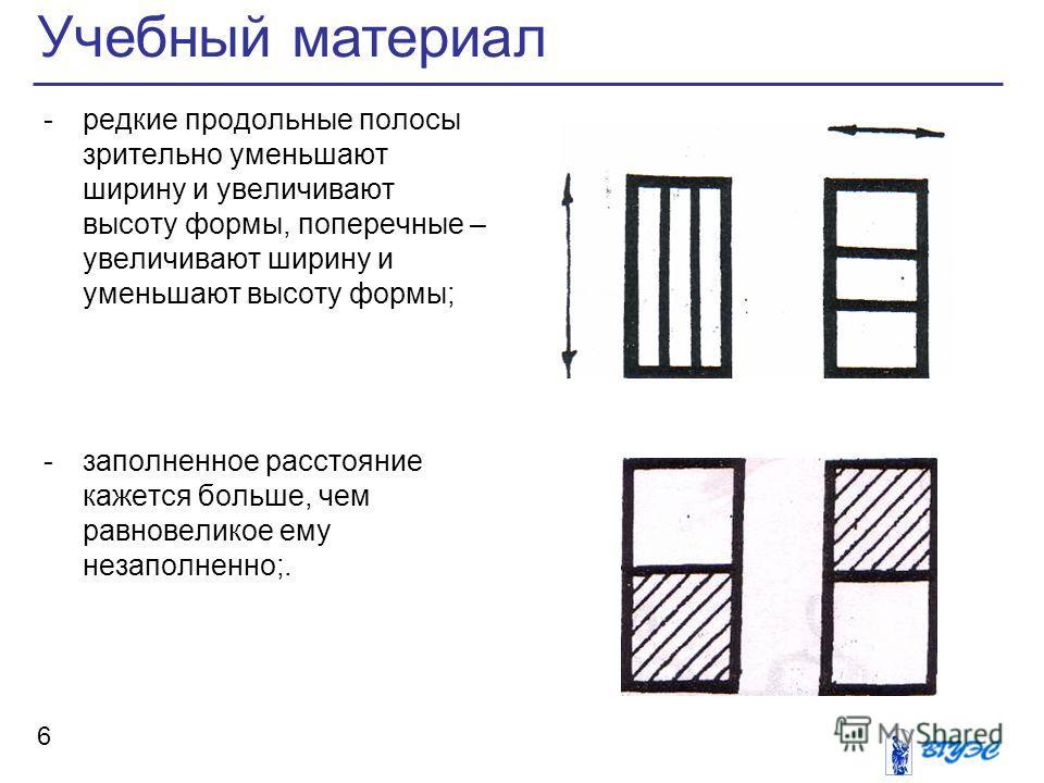Учебный материал 6 -редкие продольные полосы зрительно уменьшают ширину и увеличивают высоту формы, поперечные – увеличивают ширину и уменьшают высоту формы; -заполненное расстояние кажется больше, чем равновеликое ему незаполненно;.