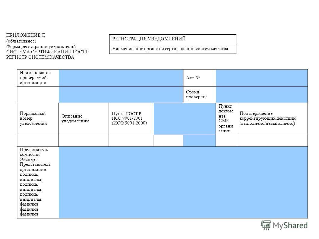 ПРИЛОЖЕНИЕ Л (обязательное) Форма регистрации уведомлений СИСТЕМА СЕРТИФИКАЦИИ ГОСТ Р РЕГИСТР СИСТЕМ КАЧЕСТВА РЕГИСТРАЦИЯ УВЕДОМЛЕНИЙ Наименование органа по сертификации систем качества Наименование проверяемой организации: Акт Сроки проверки: Порядк