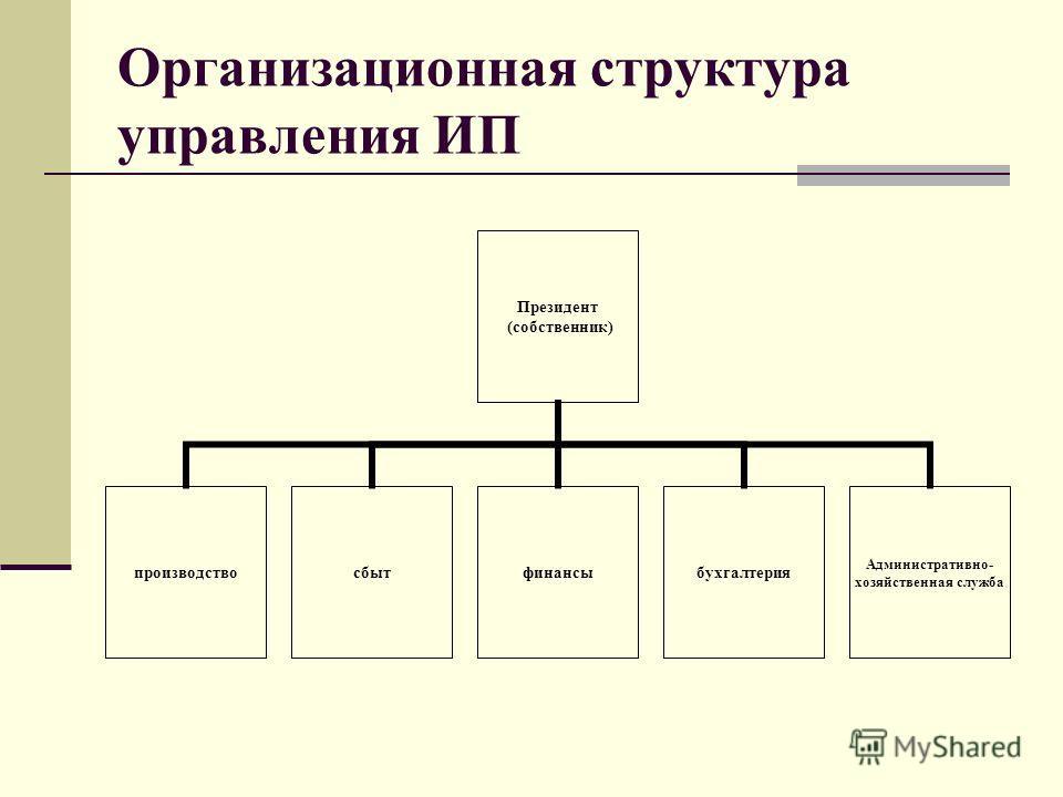 Организационная структура управления ИП Президент (собственник) производствосбытфинансыбухгалтерия Административно- хозяйственная служба