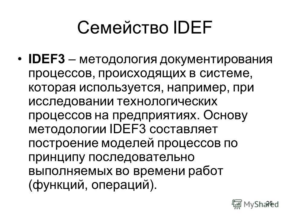 25 Семейство IDEF IDEF3 – методология документирования процессов, происходящих в системе, которая используется, например, при исследовании технологических процессов на предприятиях. Основу методологии IDEF3 составляет построение моделей процессов по