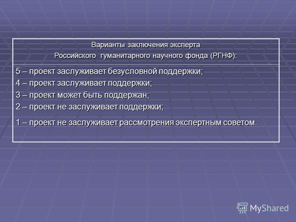 Варианты заключения эксперта Российского гуманитарного научного фонда (РГНФ): 5 – проект заслуживает безусловной поддержки; 4 – проект заслуживает поддержки; 3 – проект может быть поддержан; 2 – проект не заслуживает поддержки; 1 – проект не заслужив