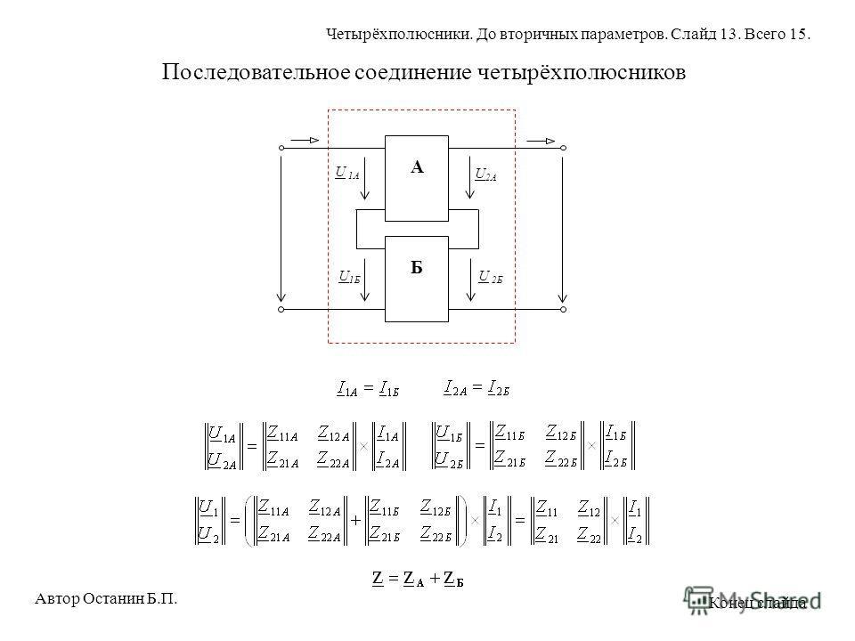 А Б U 2A U 1Б U 1A U 2Б Последовательное соединение четырёхполюсников Автор Останин Б.П. Четырёхполюсники. До вторичных параметров. Слайд 13. Всего 15. Конец слайда