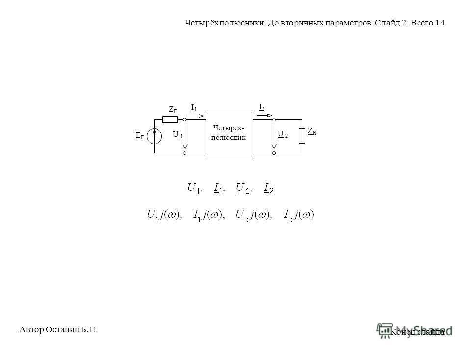 Четырех- полюсник U 1U 1 U 2U 2 ZHZH ZГZГ ЕГЕГ I1I1 I2I2 Автор Останин Б.П. Четырёхполюсники. До вторичных параметров. Слайд 2. Всего 14. Конец слайда
