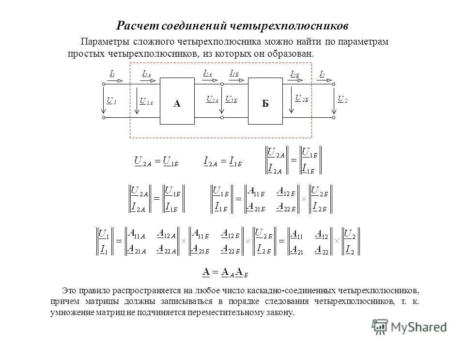 Расчет соединений четырехполюсников Параметры сложного четырехполюсника можно найти по параметрам простых четырехполюсников, из которых он образован. А U 1U 1 Б U 2U 2 I2I2 I1I1 I 2A U 2A U 1Б I 1Б I 1A U 1A U 2Б I 2Б Это правило распространяется на