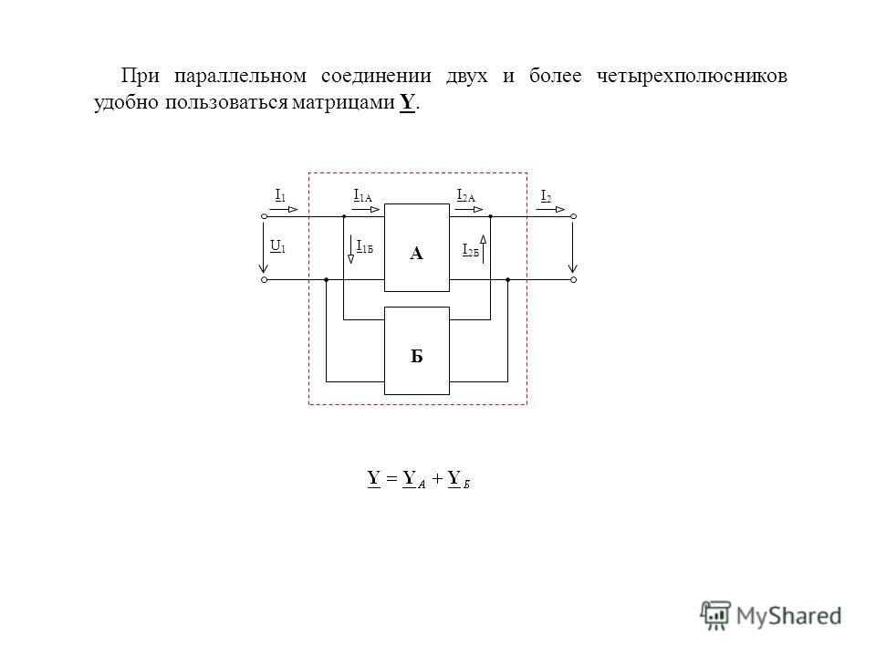 При параллельном соединении двух и более четырехполюсников удобно пользоваться матрицами Y. U2U2 А Б I 1A I1I1 I 2A I2I2 U1U1 I 1Б I 2Б