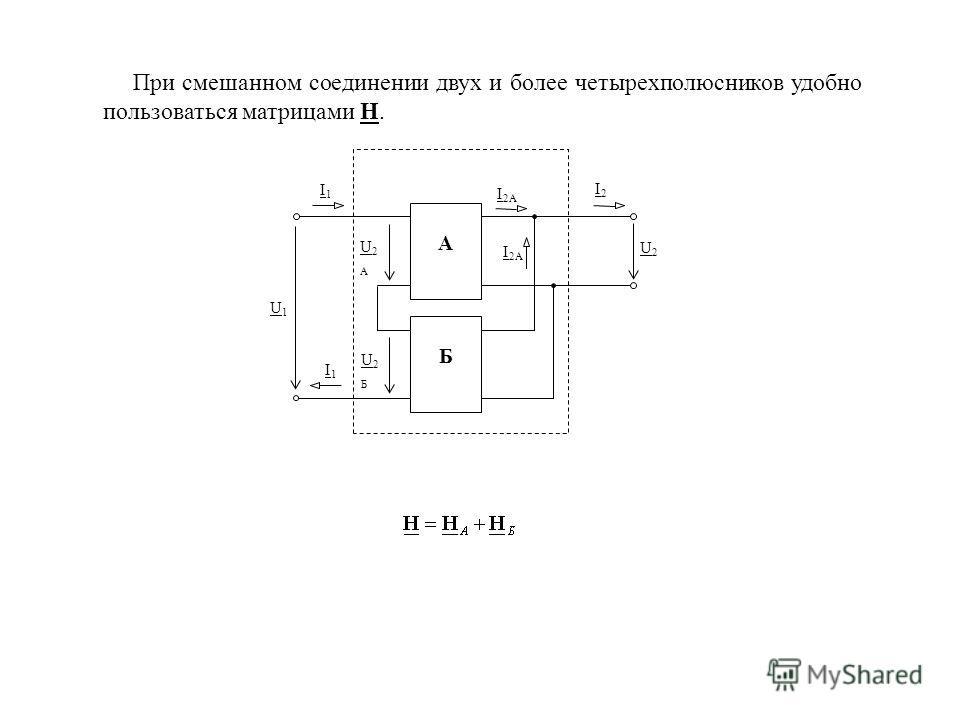 При смешанном соединении двух и более четырехполюсников удобно пользоваться матрицами H. А Б I1I1 I2I2 I 2А I1I1 U2U2 U2АU2А U2БU2Б U1U1