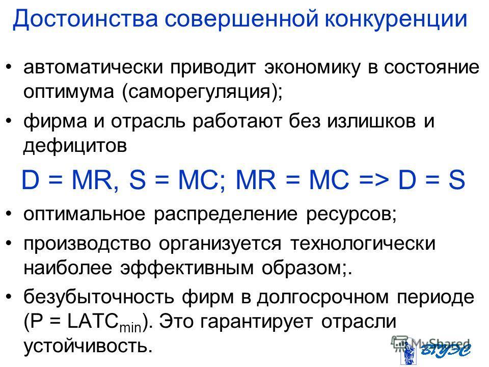 Достоинства совершенной конкуренции автоматически приводит экономику в состояние оптимума (саморегуляция); фирма и отрасль работают без излишков и дефицитов D = MR, S = МС; MR = МС => D = S оптимальное распределение ресурсов; производство организуетс