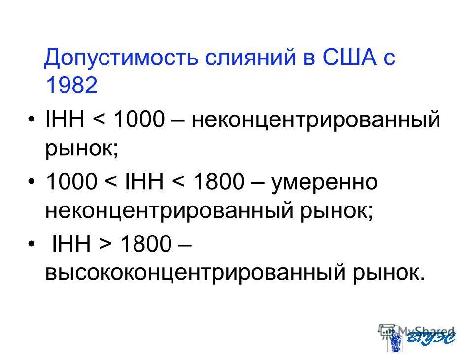 Допустимость слияний в США с 1982 IHH < 1000 – неконцентрированный рынок; 1000 < IHH < 1800 – умеренно неконцентрированный рынок; IHH > 1800 – высококонцентрированный рынок.
