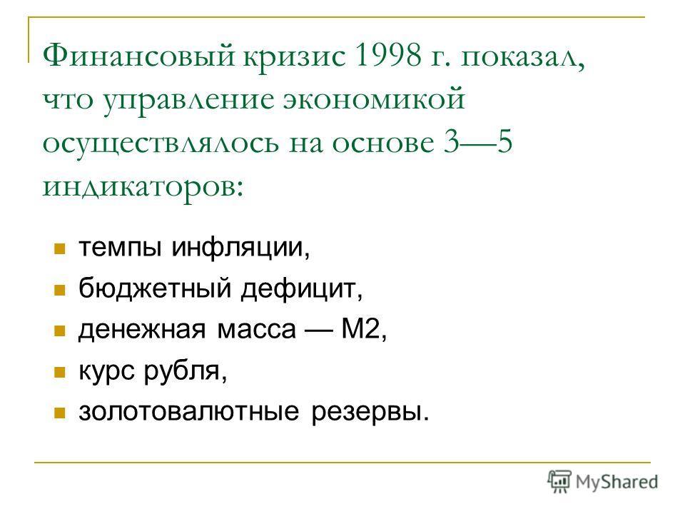Финансовый кризис 1998 г. показал, что управление экономикой осуществлялось на основе 35 индикаторов: темпы инфляции, бюджетный дефицит, денежная масса М2, курс рубля, золотовалютные резервы.