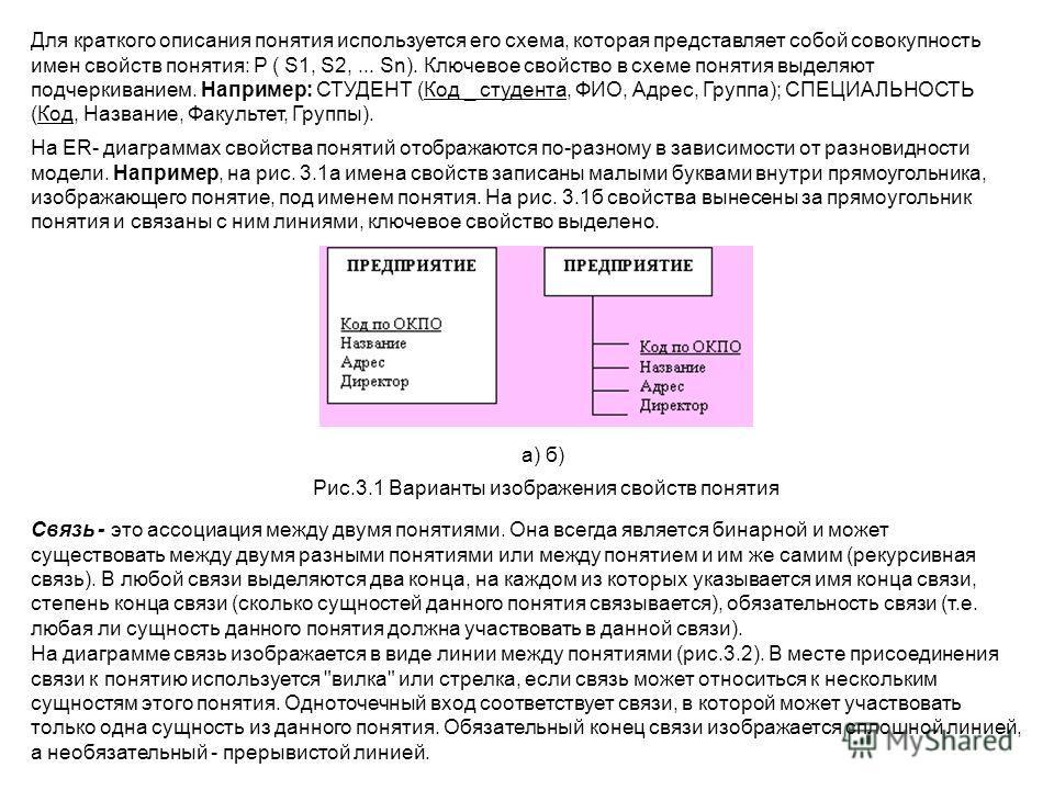 Для краткого описания понятия используется его схема, которая представляет собой совокупность имен свойств понятия: P ( S1, S2,... Sn). Ключевое свойство в схеме понятия выделяют подчеркиванием. Например: СТУДЕНТ (Код _ студента, ФИО, Адрес, Группа);
