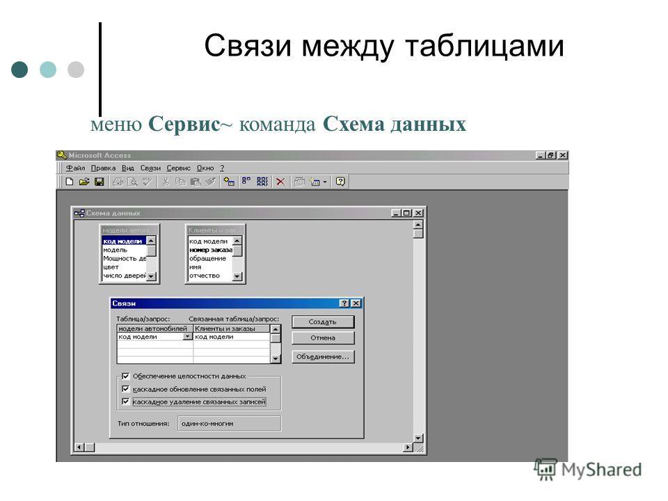Связи между таблицами меню Сервис~ команда Схема данных
