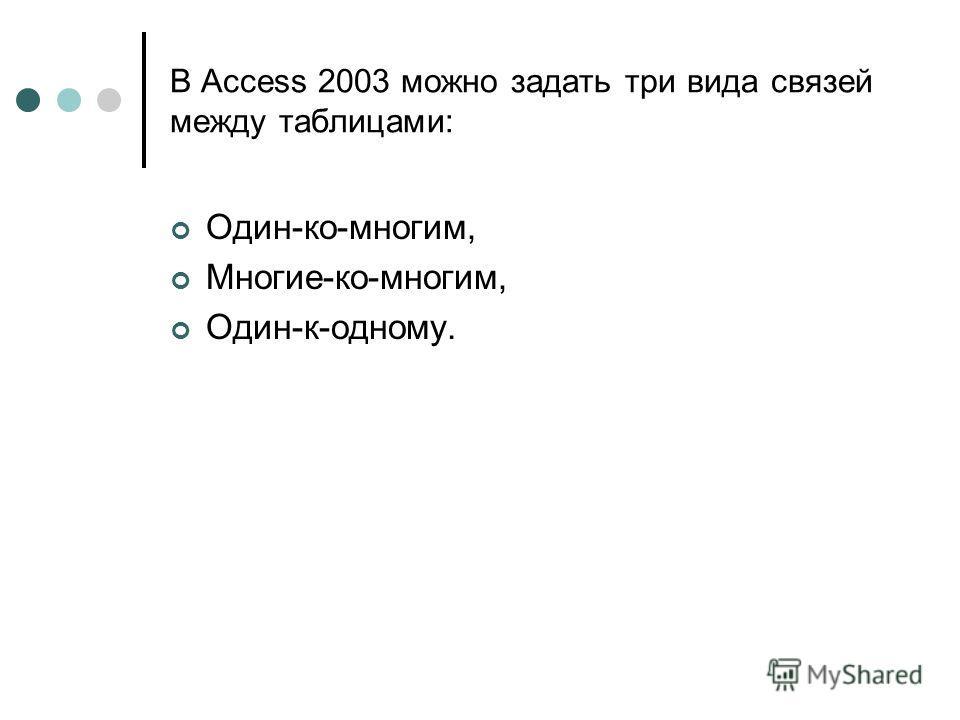 В Access 2003 можно задать три вида связей между таблицами: Один-ко-многим, Многие-ко-многим, Один-к-одному.