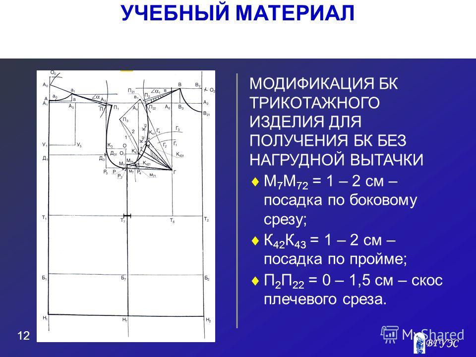 Рисунок МОДИФИКАЦИЯ БК ТРИКОТАЖНОГО ИЗДЕЛИЯ ДЛЯ ПОЛУЧЕНИЯ БК БЕЗ НАГРУДНОЙ ВЫТАЧКИ М 7 М 72 = 1 – 2 см – посадка по боковому срезу; К 42 К 43 = 1 – 2 см – посадка по пройме; П 2 П 22 = 0 – 1,5 см – скос плечевого среза. 12 УЧЕБНЫЙ МАТЕРИАЛ