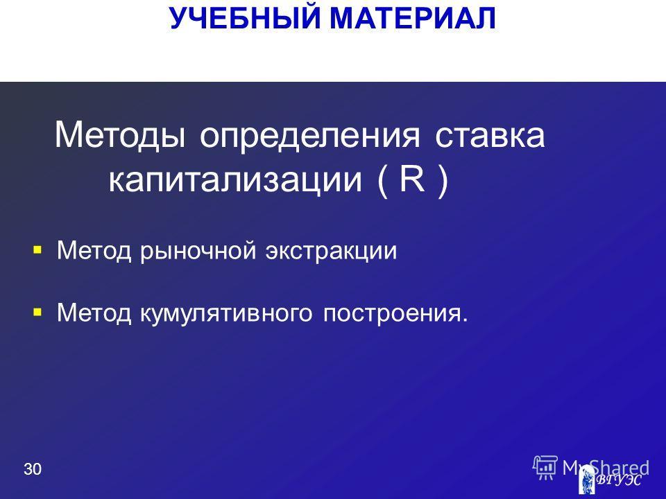 УЧЕБНЫЙ МАТЕРИАЛ 30 Метод рыночной экстракции Метод кумулятивного построения. Методы определения ставка капитализации ( R )