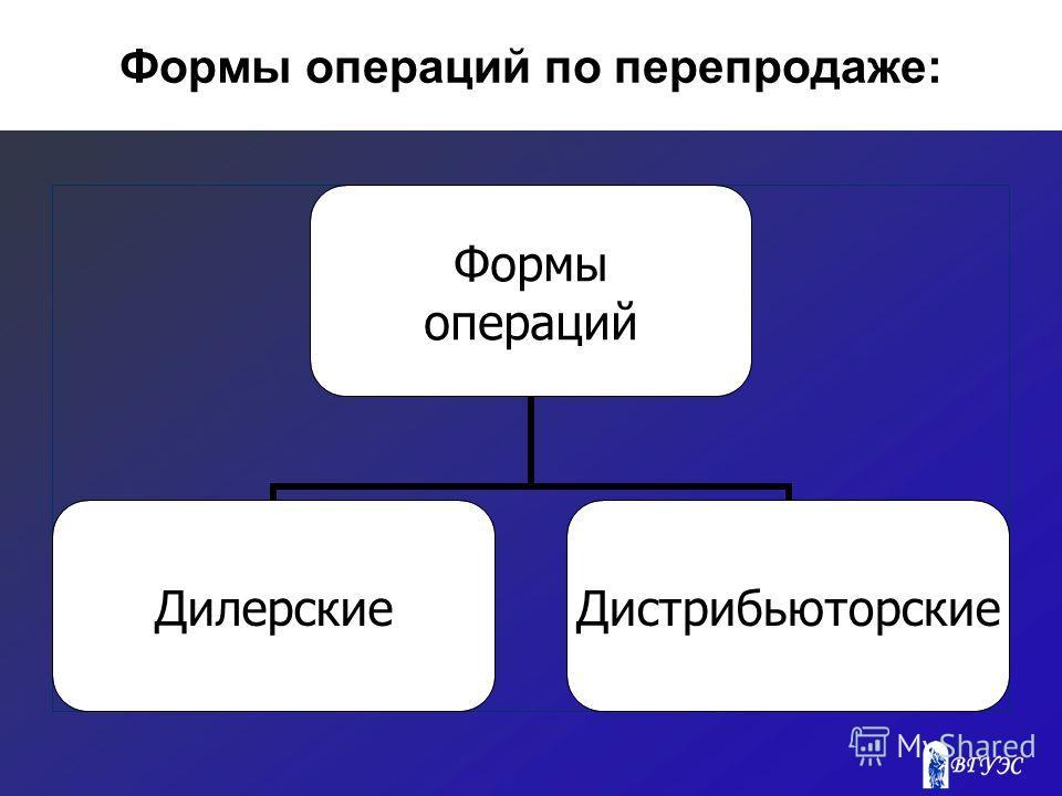 Формы операций по перепродаже: Формы операций ДилерскиеДистрибьюторские