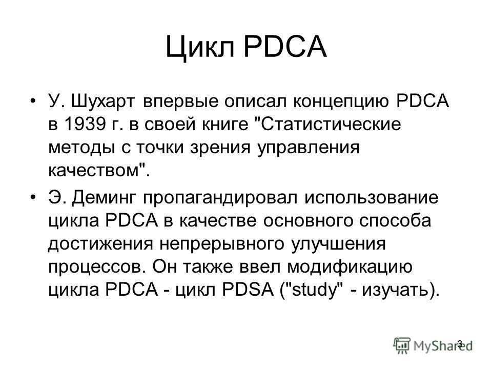 3 Цикл PDCA У. Шухарт впервые описал концепцию PDCA в 1939 г. в своей книге