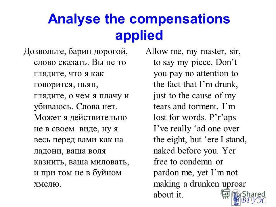 Analyse the compensations applied Дозвольте, барин дорогой, слово сказать. Вы не то глядите, что я как говорится, пьян, глядите, о чем я плачу и убиваюсь. Слова нет. Может я действительно не в своем виде, ну я весь перед вами как на ладони, ваша воля