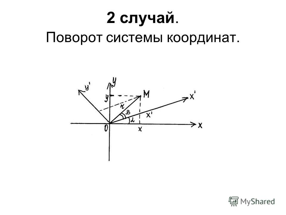 2 случай. Поворот системы координат.