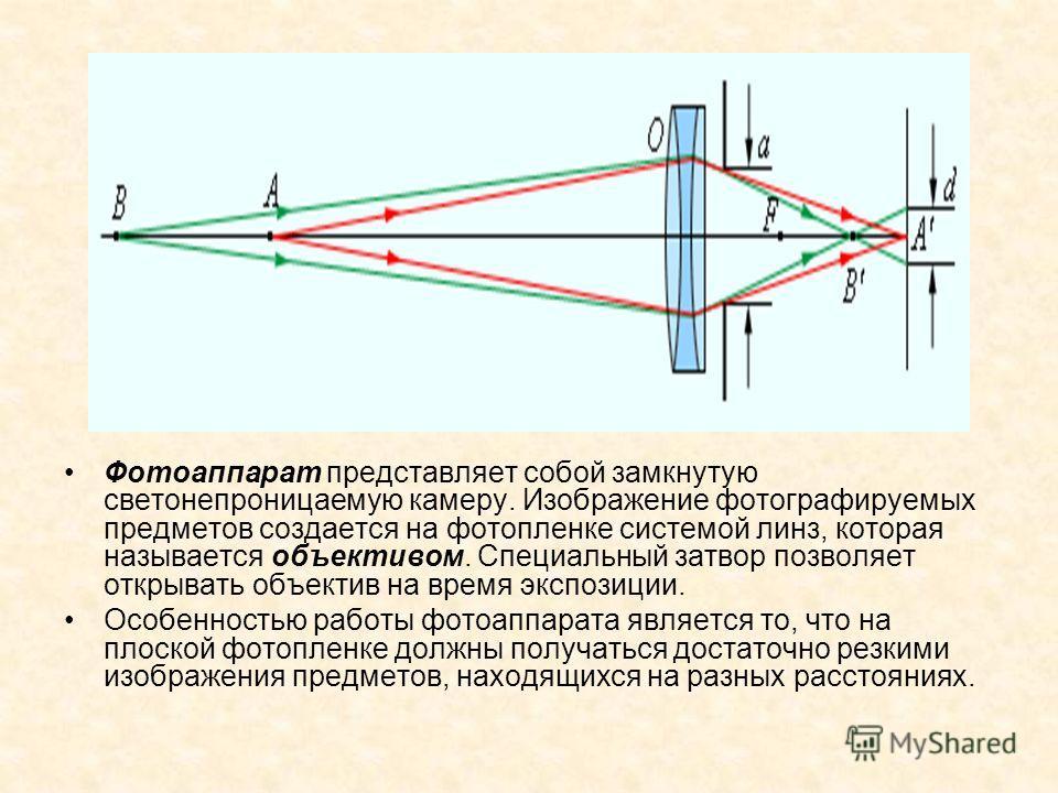Фотоаппарат представляет собой замкнутую светонепроницаемую камеру. Изображение фотографируемых предметов создается на фотопленке системой линз, которая называется объективом. Специальный затвор позволяет открывать объектив на время экспозиции. Особе
