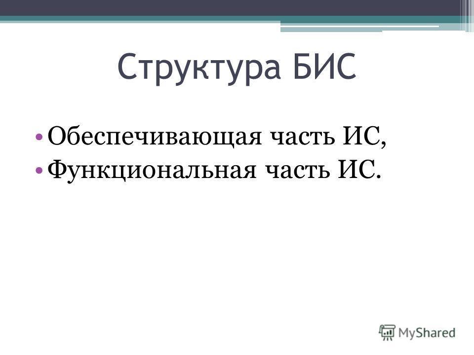 Структура БИС Обеспечивающая часть ИС, Функциональная часть ИС.