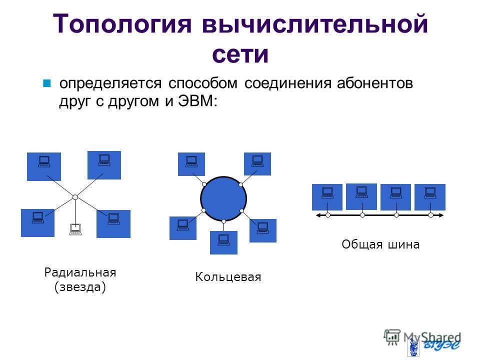 Топология вычислительной сети определяется способом соединения абонентов друг с другом и ЭВМ: Радиальная (звезда) Кольцевая Общая шина