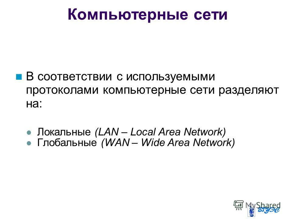 Компьютерные сети В соответствии с используемыми протоколами компьютерные сети разделяют на: Локальные (LAN – Local Area Network) Глобальные (WAN – Wide Area Network)