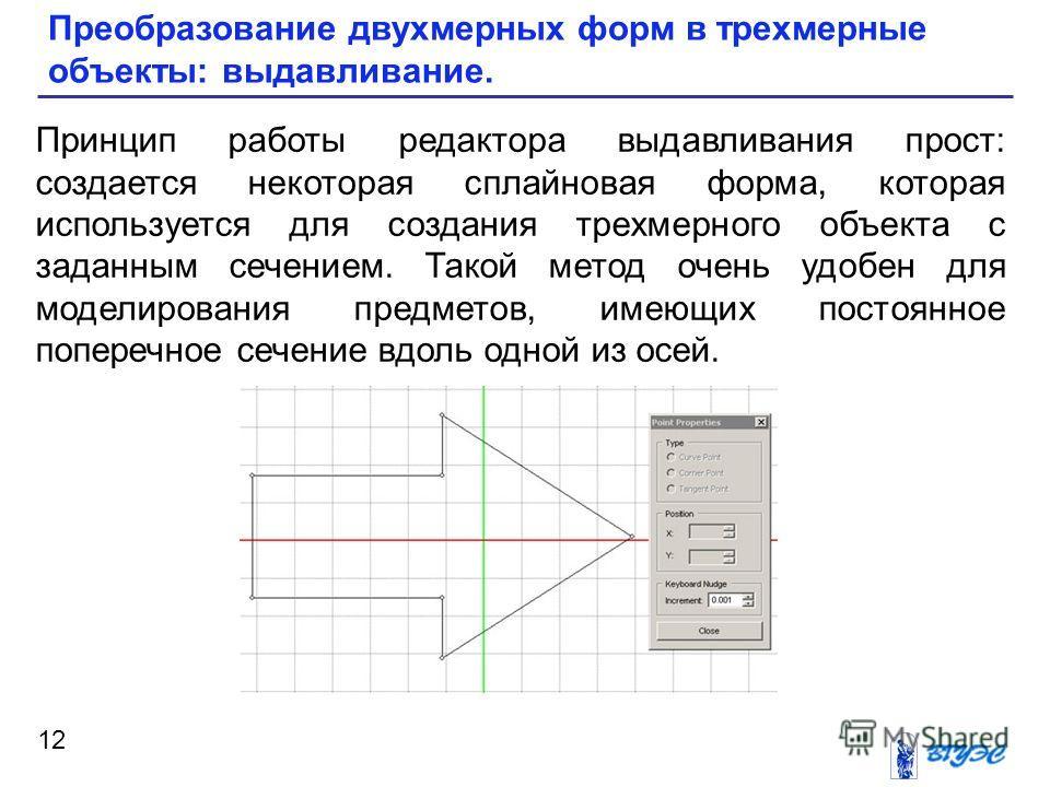 12 Преобразование двухмерных форм в трехмерные объекты: выдавливание. Принцип работы редактора выдавливания прост: создается некоторая сплайновая форма, которая используется для создания трехмерного объекта с заданным сечением. Такой метод очень удоб