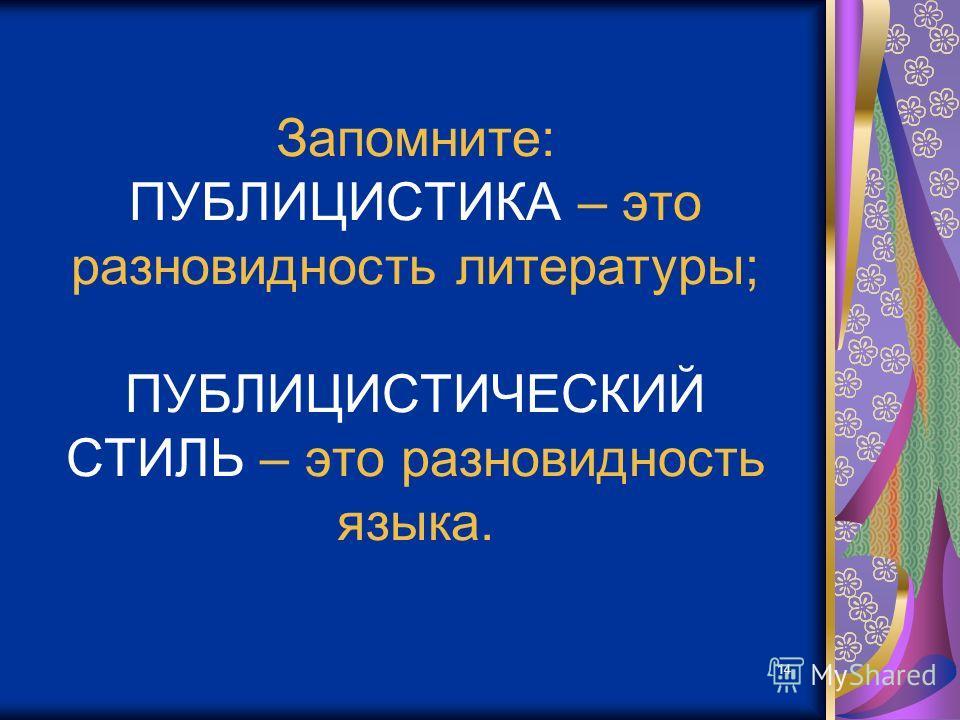 14 Запомните: ПУБЛИЦИСТИКА – это разновидность литературы; ПУБЛИЦИСТИЧЕСКИЙ СТИЛЬ – это разновидность языка.