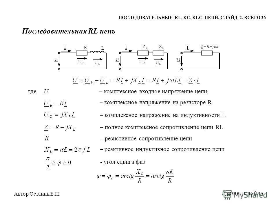 Последовательная RL цепь ULUL U URUR I L R ULUL U URUR I ZLZL ZRZR U I Z=R+j L где U – комплексное входное напряжение цепи – комплексное напряжение на резисторе R – комплексное напряжение на индуктивности L R – резистивное сопротивление цепи – реакти