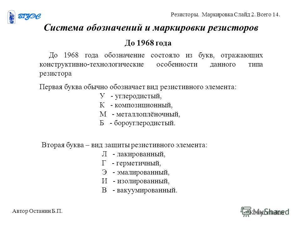 Система обозначений и маркировки резисторов До 1968 года До 1968 года обозначение состояло из букв, отражающих конструктивно-технологические особенности данного типа резистора Автор Останин Б.П. Резисторы. Маркировка Слайд 2. Всего 14. Конец слайда П