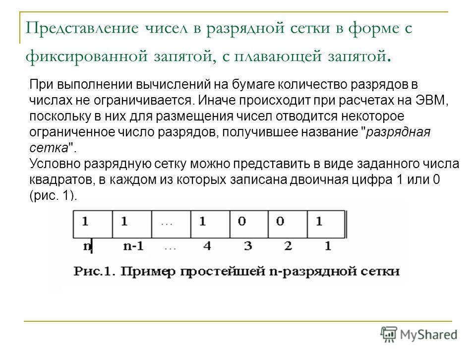 Представление чисел в разрядной сетки в форме с фиксированной запятой, с плавающей запятой. При выполнении вычислений на бумаге количество разрядов в числах не ограничивается. Иначе происходит при расчетах на ЭВМ, поскольку в них для размещения чисел