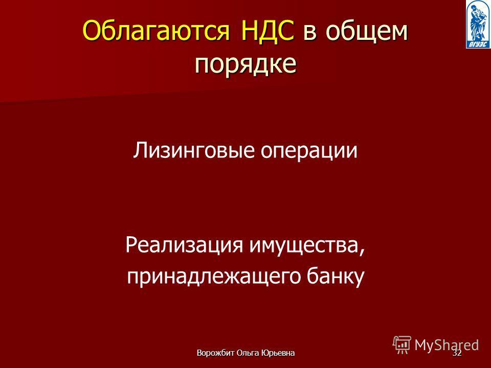 Ворожбит Ольга Юрьевна32 Облагаются НДС в общем порядке Лизинговые операции Реализация имущества, принадлежащего банку