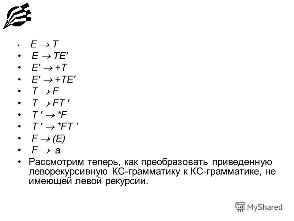 E T E TE' E' +T E' +TE' T F T FT ' T ' *F T ' *FT ' F (E) F a Рассмотрим теперь, как преобразовать приведенную леворекурсивную КС-грамматику к КС-грамматике, не имеющей левой рекурсии.