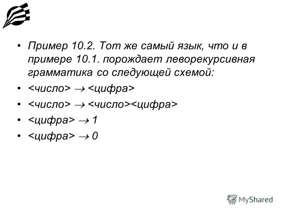 Пример 10.2. Тот же самый язык, что и в примере 10.1. порождает леворекурсивная грамматика со следующей схемой: 1 0