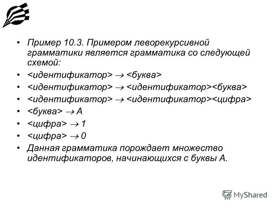 Пример 10.3. Примером леворекурсивной грамматики является грамматика со следующей схемой: А 1 0 Данная грамматика порождает множество идентификаторов, начинающихся с буквы А.
