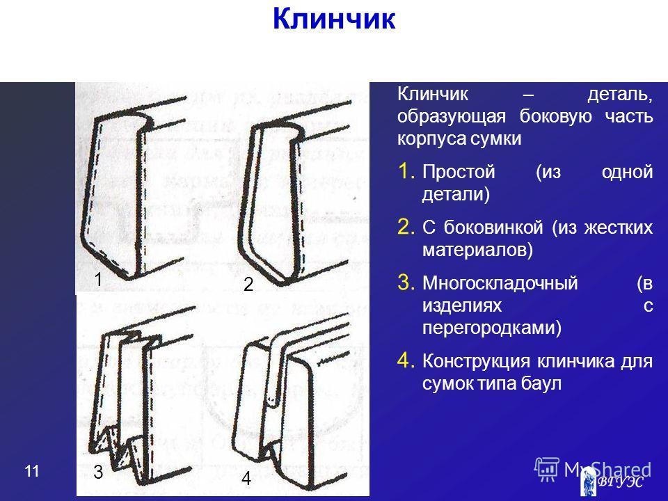 11 Клинчик Клинчик – деталь, образующая боковую часть корпуса сумки 1. Простой (из одной детали) 2. С боковинкой (из жестких материалов) 3. Многоскладочный (в изделиях с перегородками) 4. Конструкция клинчика для сумок типа баул 1 3 2 4