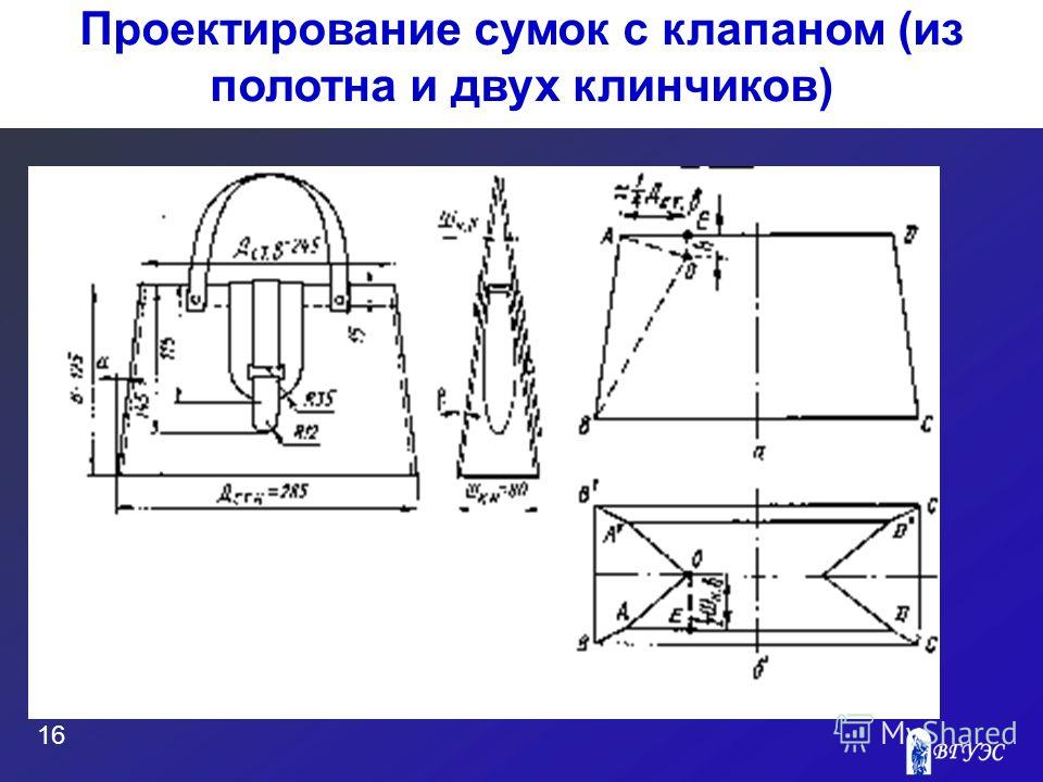 16 Проектирование сумок с клапаном (из полотна и двух клинчиков)