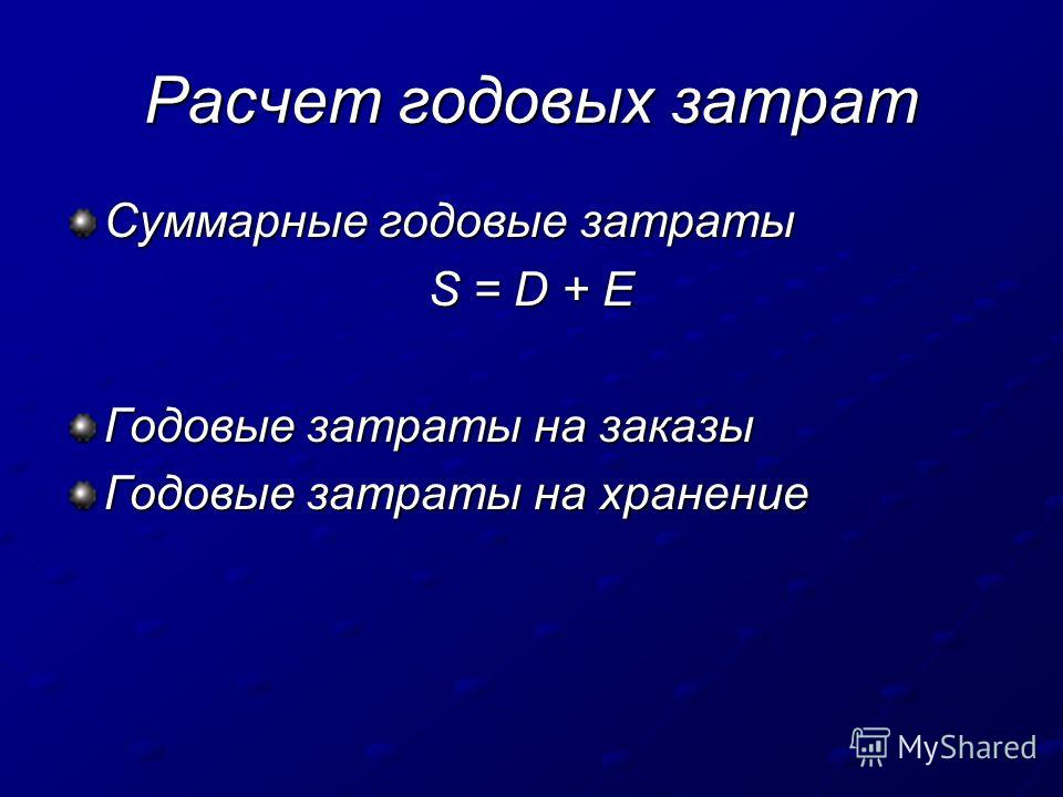 Расчет годовых затрат Суммарные годовые затраты S = D + Е Годовые затраты на заказы Годовые затраты на хранение
