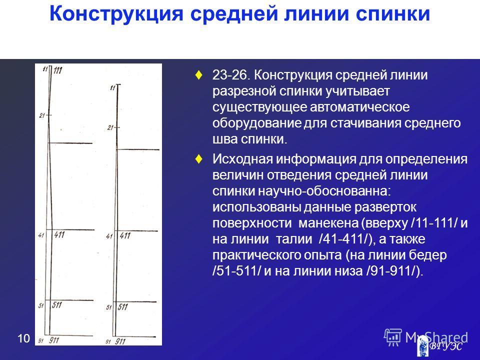 10 Конструкция средней линии спинки 23-26. Конструкция средней линии разрезной спинки учитывает существующее автоматическое оборудование для стачивания среднего шва спинки. Исходная информация для определения величин отведения средней линии спинки на