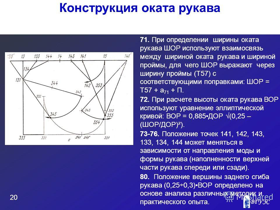 71. При определении ширины оката рукава ШОР используют взаимосвязь между шириной оката рукава и шириной проймы, для чего ШОР выражают через ширину проймы (Т57) с соответствующими поправками: ШОР = Т57 + а 71 + П. 72. При расчете высоты оката рукава В