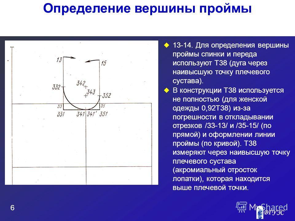 13-14. Для определения вершины проймы спинки и переда используют Т38 (дуга через наивысшую точку плечевого сустава). В конструкции Т38 используется не полностью (для женской одежды 0,92Т38) из-за погрешности в откладывании отрезков /33-13/ и /35-15/