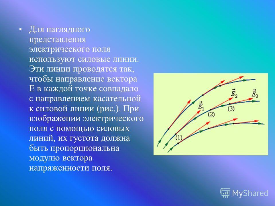 Для наглядного представления электрического поля используют силовые линии. Эти линии проводятся так, чтобы направление вектора E в каждой точке совпадало с направлением касательной к силовой линии (рис.). При изображении электрического поля с помощью